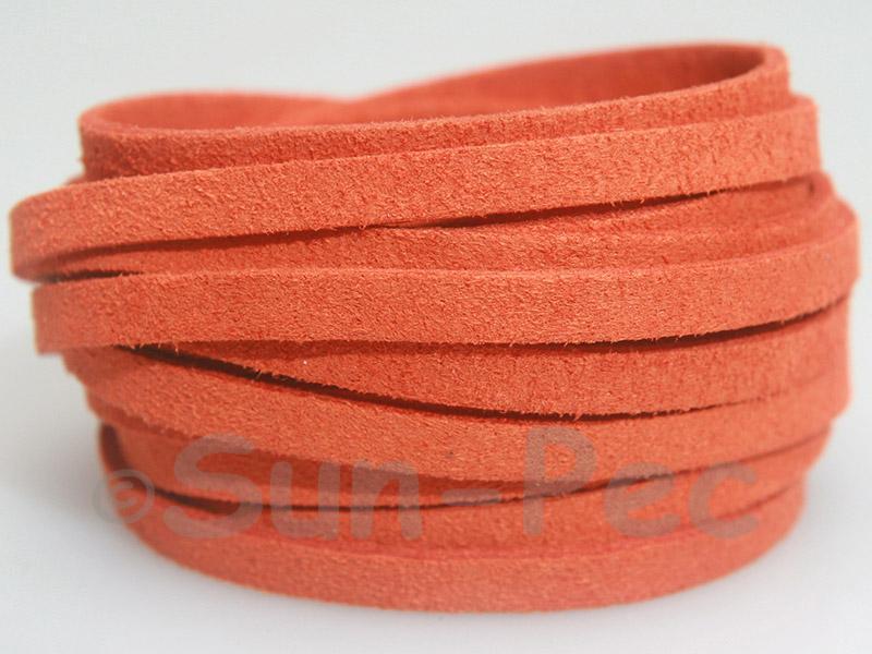 Tangerine 5mm Flat Faux Suede Lace Leather Cord 1 meter 1pcs - 10pcs