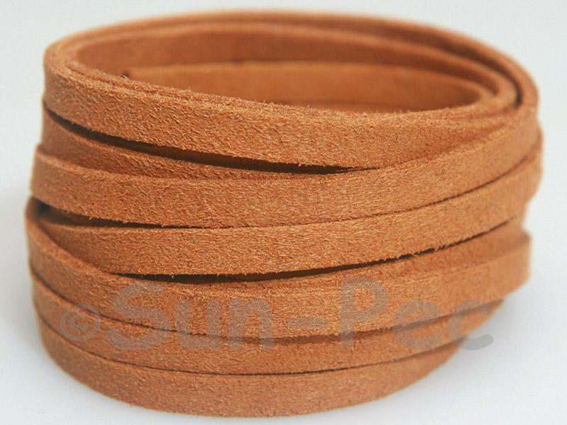 Yellow Coffee 5mm Flat Faux Suede Lace Leather Cord 1 meter 1pcs - 10pcs