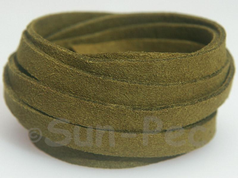 Army Green 8mm Flat Faux Suede Lace Leather Cord 1 meter 1pcs - 10pcs