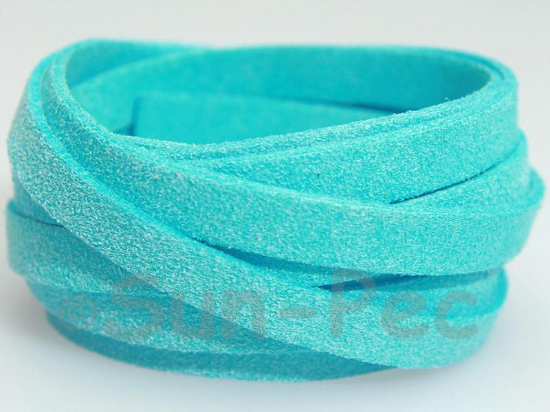 Azure 8mm Flat Faux Suede Lace Leather Cord 1 meter 1pcs - 10pcs