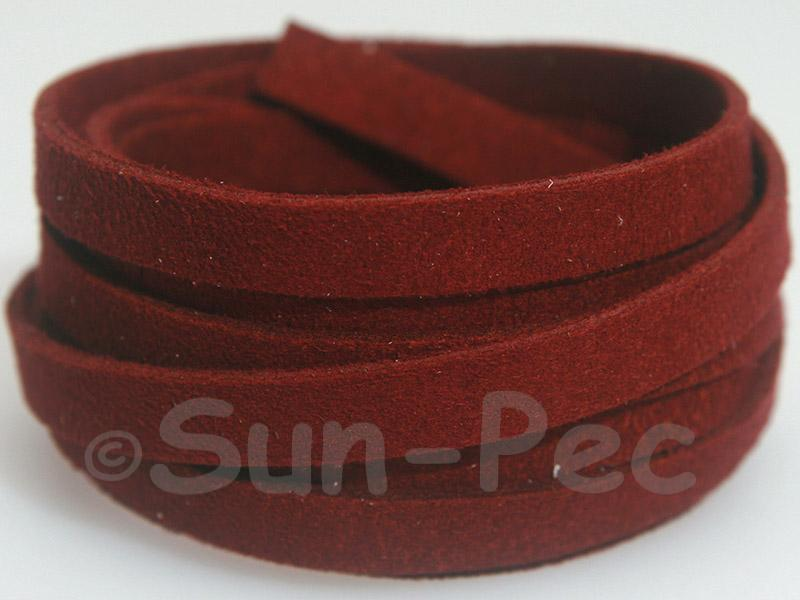 Burgundy 8mm Flat Faux Suede Lace Leather Cord 1 meter 1pcs - 10pcs