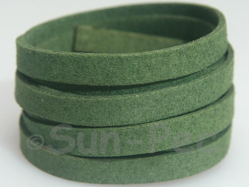 Khaki green 8mm Flat Faux Suede Lace Leather Cord 1 meter 1pcs - 10pcs