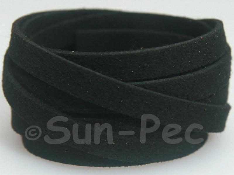 Black 8mm Flat Faux Suede Lace Leather Cord 1 meter 1pcs - 10pcs