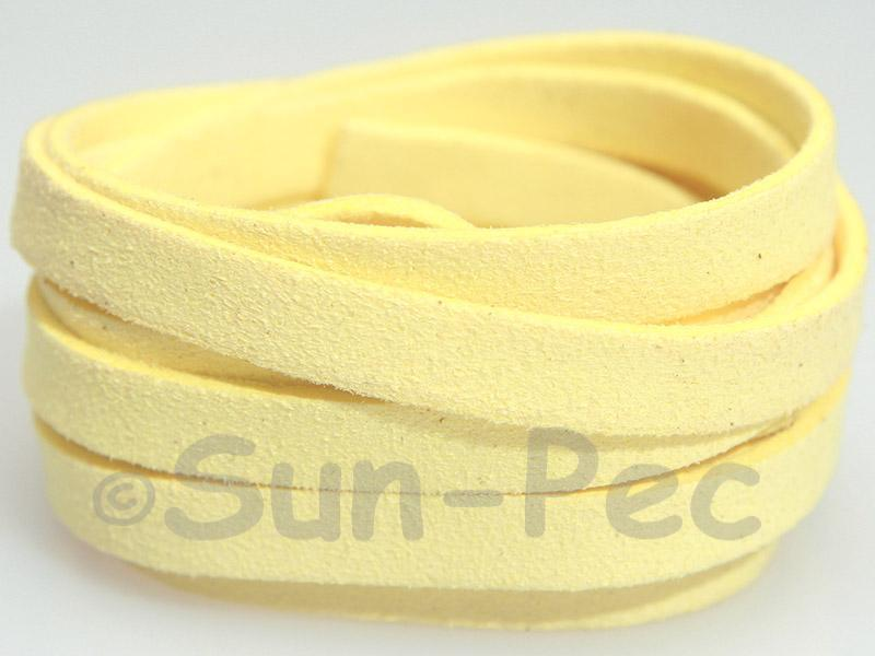 Yellow Cream 8mm Flat Faux Suede Lace Leather Cord 1 meter 1pcs - 10pcs