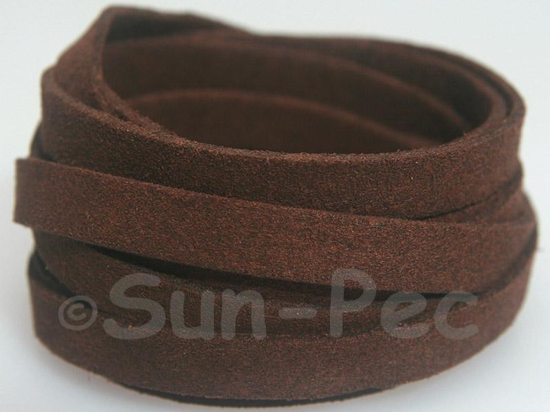 Dark coffee 8mm Flat Faux Suede Lace Leather Cord 1 meter 1pcs - 10pcs