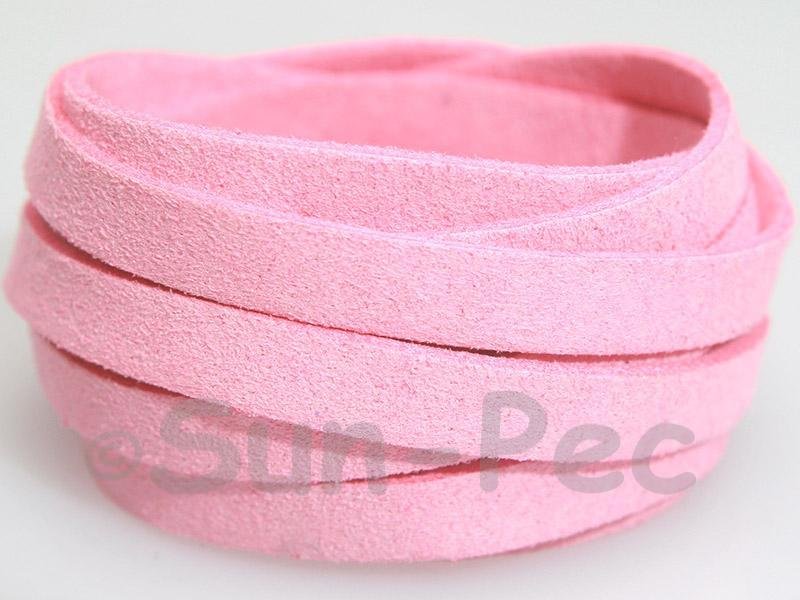 Deep pink 8mm Flat Faux Suede Lace Leather Cord 1 meter 1pcs - 10pcs