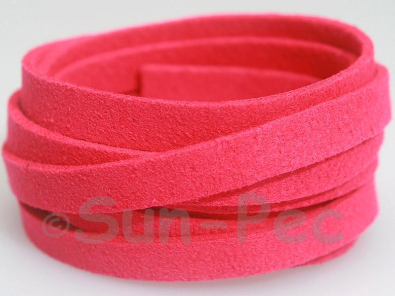 Deep Rose 8mm Flat Faux Suede Lace Leather Cord 1 meter 1pcs - 10pcs