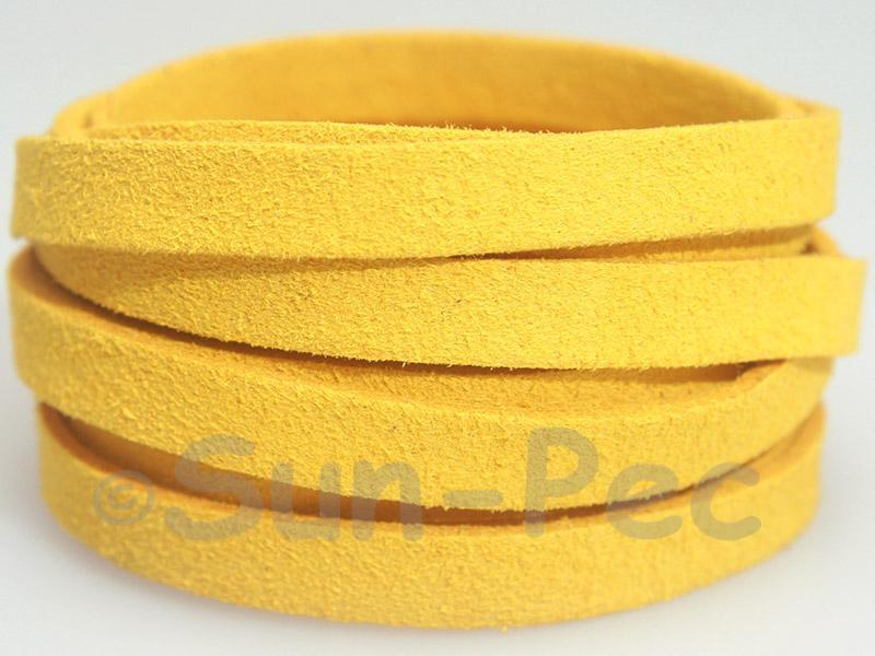Golden Yellow 8mm Flat Faux Suede Lace Leather Cord 1 meter 1pcs - 10pcs
