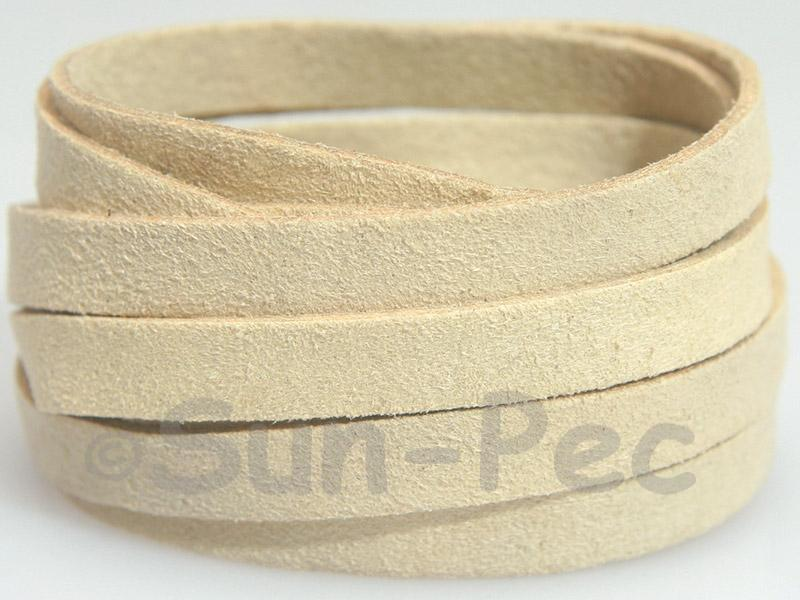 Ivory 8mm Flat Faux Suede Lace Leather Cord 1 meter 1pcs - 10pcs
