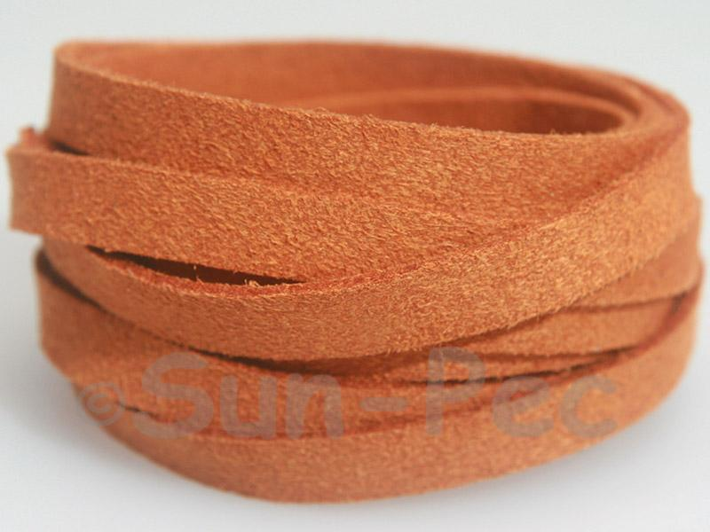 Orange 8mm Flat Faux Suede Lace Leather Cord 1 meter 1pcs - 10pcs