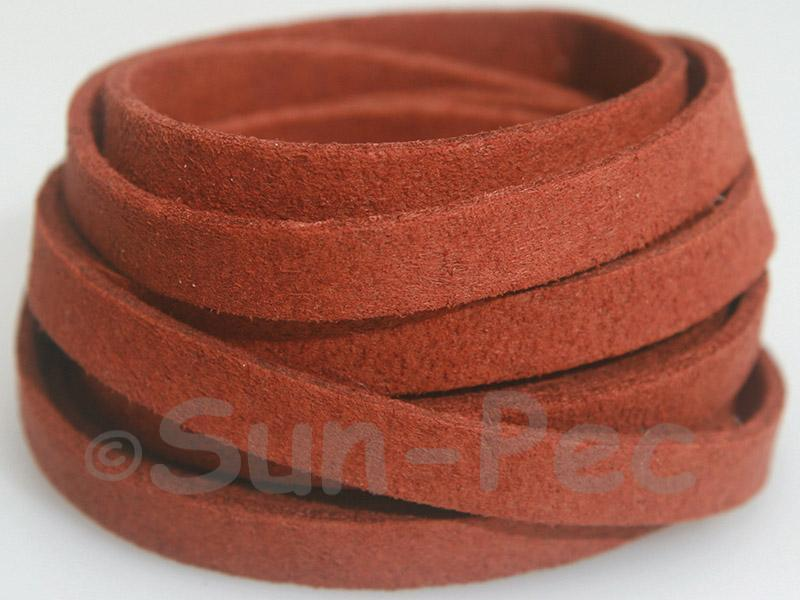 Red Coffee 8mm Flat Faux Suede Lace Leather Cord 1 meter 1pcs - 10pcs