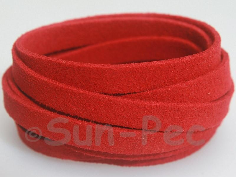 Red 8mm Flat Faux Suede Lace Leather Cord 1 meter 1pcs - 10pcs