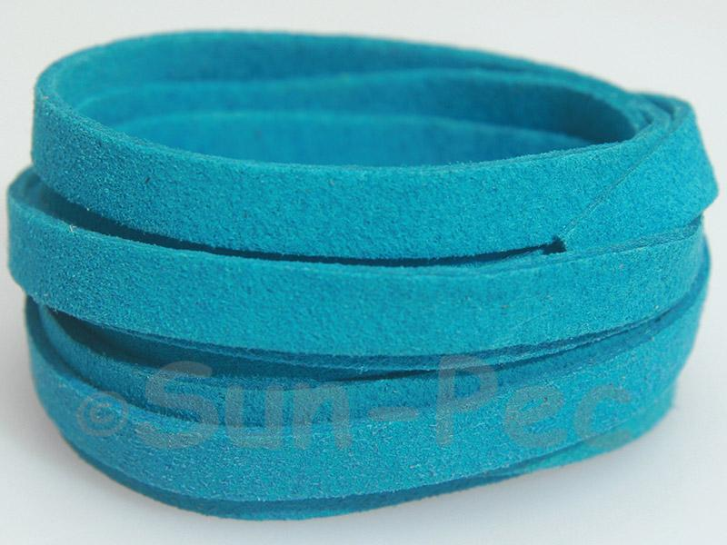 Sky Blue 8mm Flat Faux Suede Lace Leather Cord 1 meter 1pcs - 10pcs