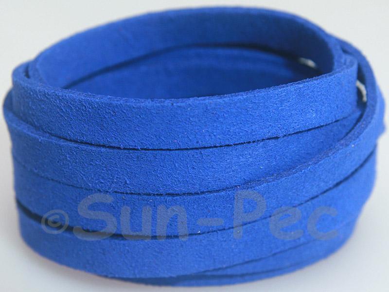 Sapphire 8mm Flat Faux Suede Lace Leather Cord 1 meter 1pcs - 10pcs