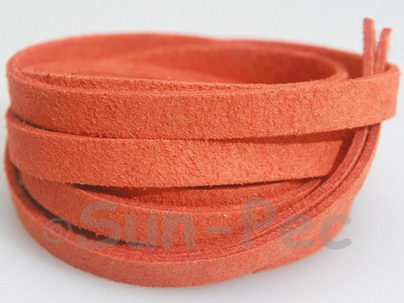 Tangerine 8mm Flat Faux Suede Lace Leather Cord 1 meter 1pcs - 10pcs