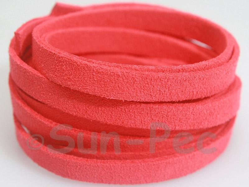 Watermelon red 8mm Flat Faux Suede Lace Leather Cord 1 meter 1pcs - 10pcs