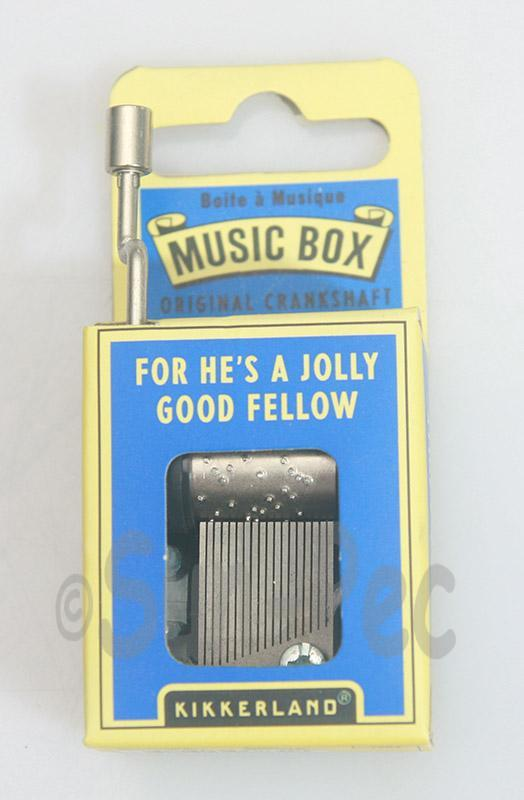 For Hes A Jolly Good Fellow Kikkerland Wind-Up Hand Crank Music Box 1pcs