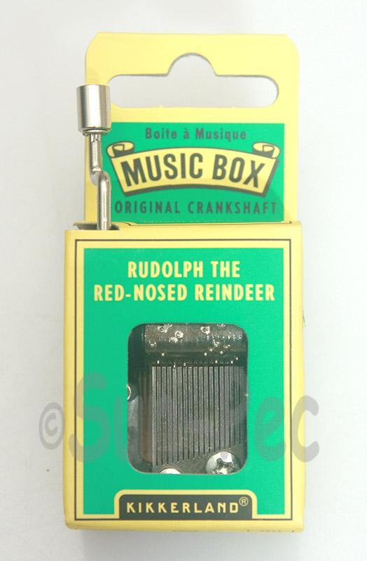 Rudolph Red-Nosed Reindeer Kikkerland Wind-Up Hand Crank Music Box 1pcs