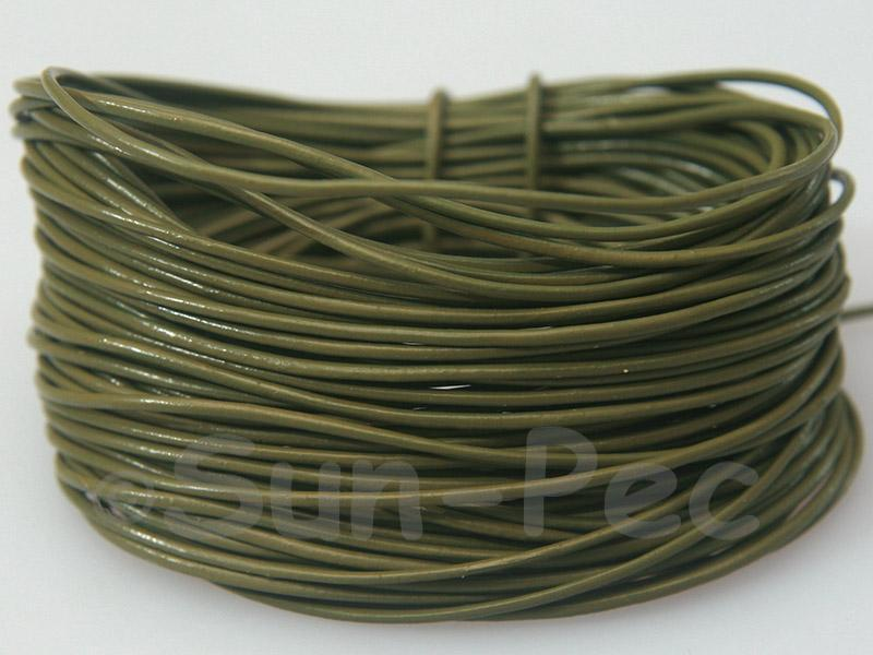 Army Green 1mm Round Genuine Hide Leather Cord 1m - 8m