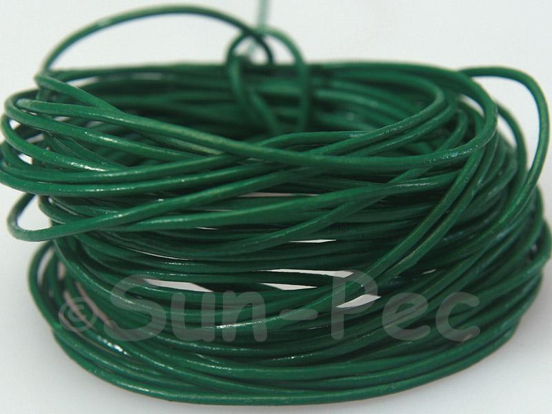Dark Green 1mm Round Genuine Hide Leather Cord 1m - 8m