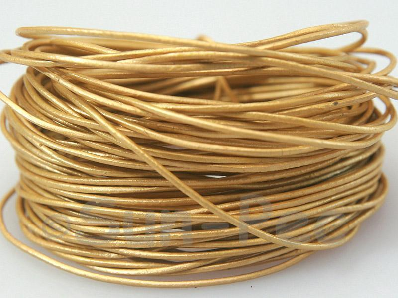 Golden 1mm Round Genuine Hide Leather Cord 1m - 8m