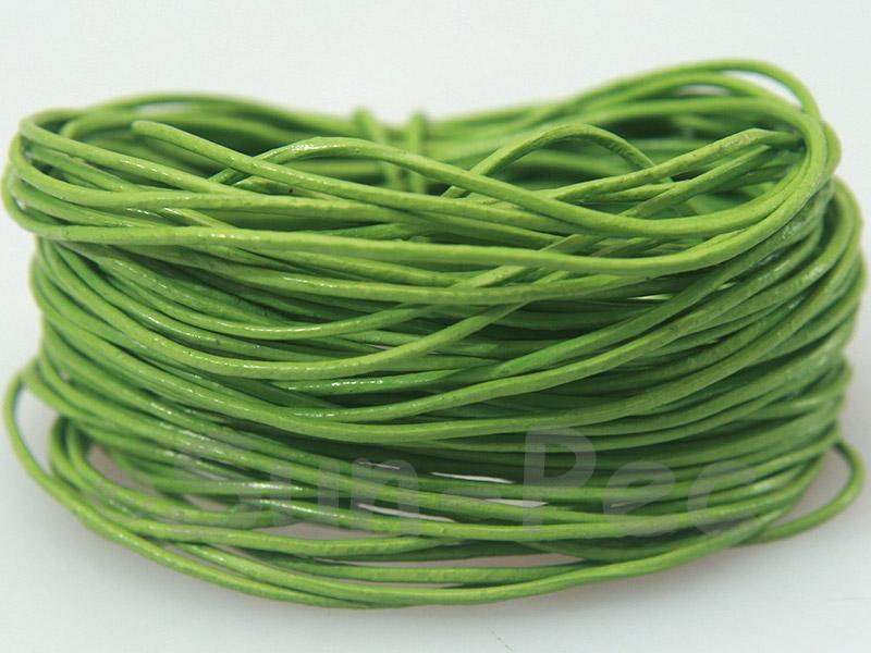 Grass-green 1mm Round Genuine Hide Leather Cord 1m - 8m
