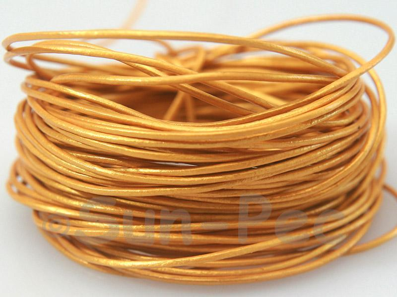 Golden-yellow 1mm Round Genuine Hide Leather Cord 1m - 8m
