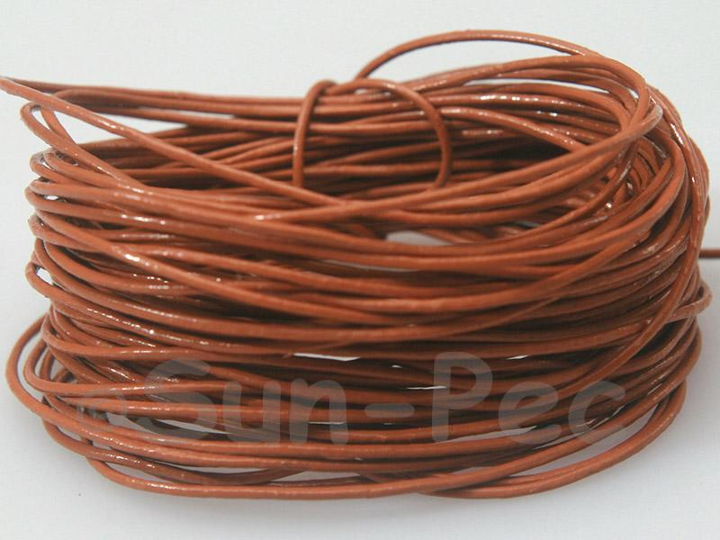 Light Coffee 1mm Round Genuine Hide Leather Cord 1m - 8m