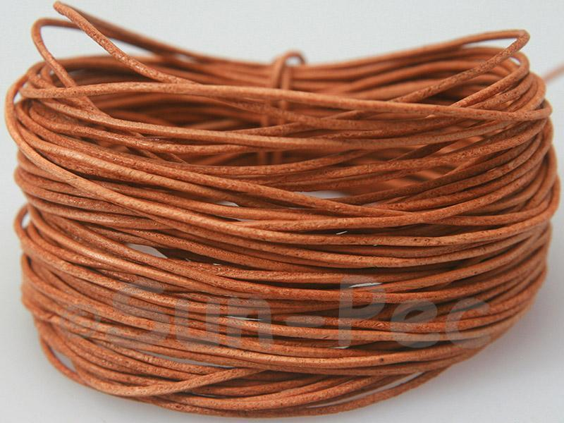 Natural 1mm Round Genuine Hide Leather Cord 1m - 8m
