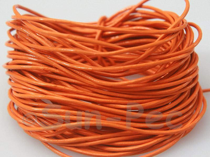 Orange 1mm Round Genuine Hide Leather Cord 1m - 8m