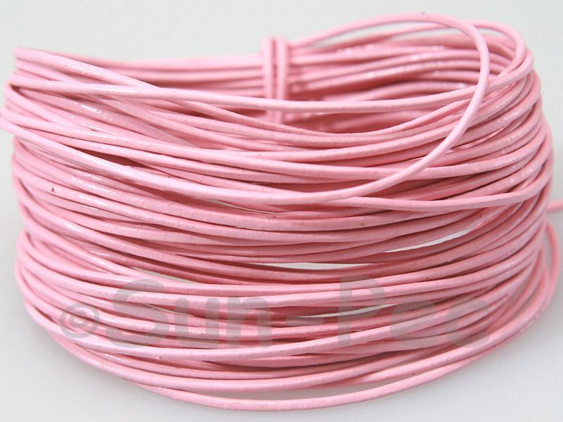 Pink 1mm Round Genuine Hide Leather Cord 1m - 8m