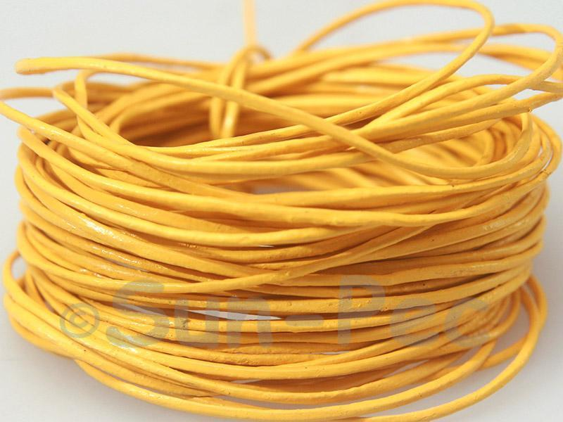 Yellow 1mm Round Genuine Hide Leather Cord 1m - 8m