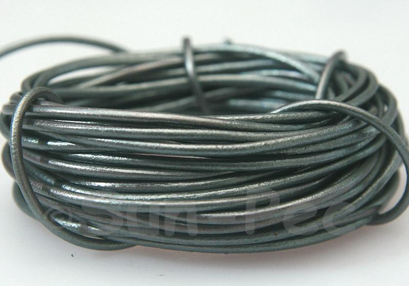 Grey Pearl 2mm Round Genuine Hide Leather Cord 1m - 8m