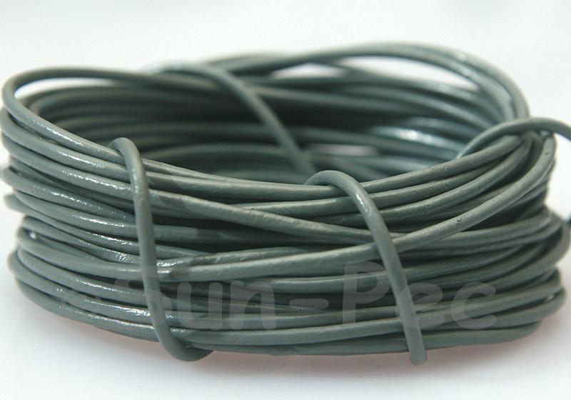 Dark Gray 2mm Round Genuine Hide Leather Cord 1m - 8m