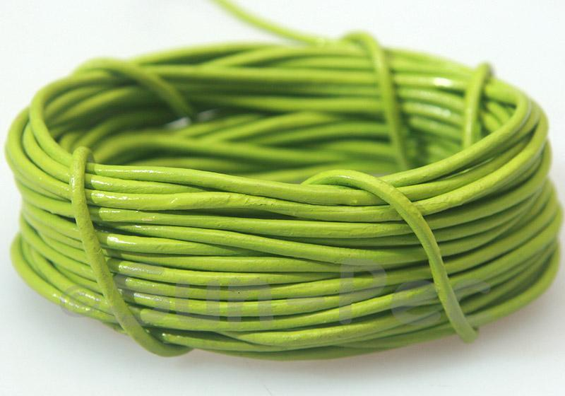 Grass-green 2mm Round Genuine Hide Leather Cord 1m - 8m