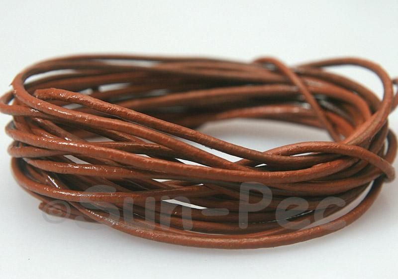 Light Coffee 2mm Round Genuine Hide Leather Cord 1m - 30m