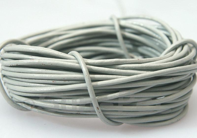 Light Gray 2mm Round Genuine Hide Leather Cord 1m - 8m