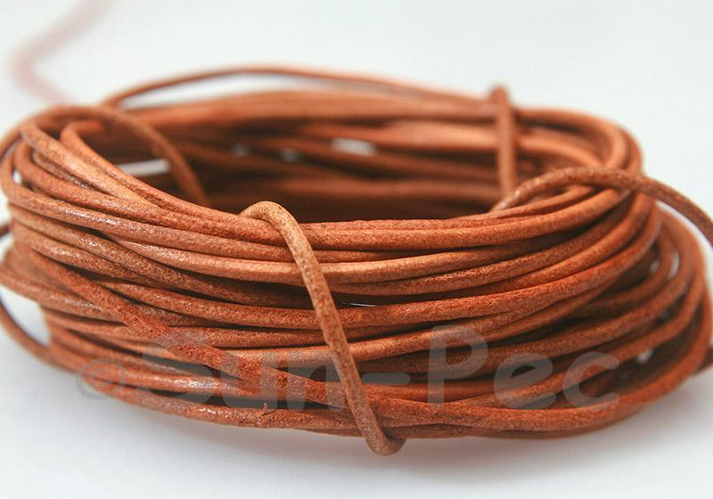 Natural 2mm Round Genuine Hide Leather Cord 1m - 8m
