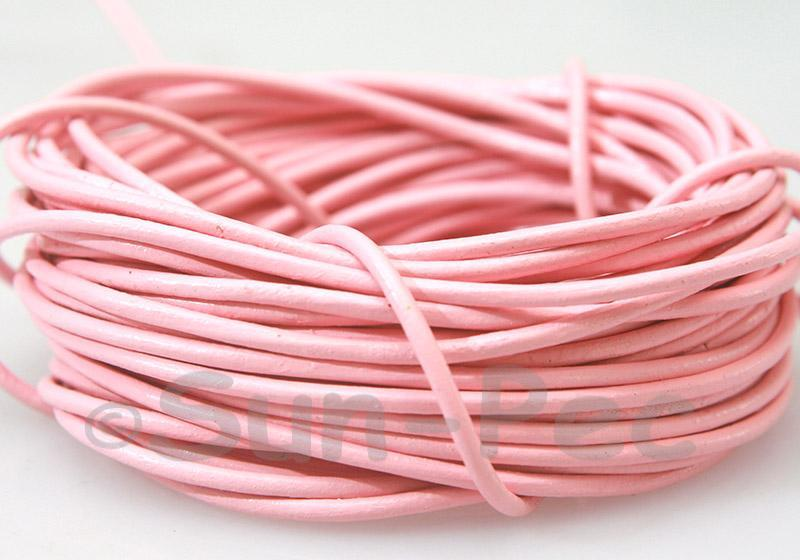 Pink 2mm Round Genuine Hide Leather Cord 1m - 8m