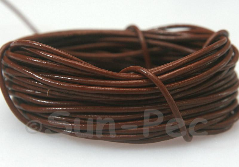 Red Coffee 2mm Round Genuine Hide Leather Cord 1m - 8m