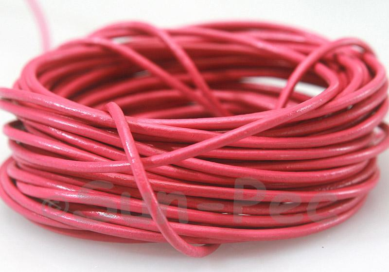 Rose 2mm Round Genuine Hide Leather Cord 1m - 8m