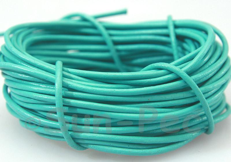 Sky Blue 2mm Round Genuine Hide Leather Cord 1m - 8m