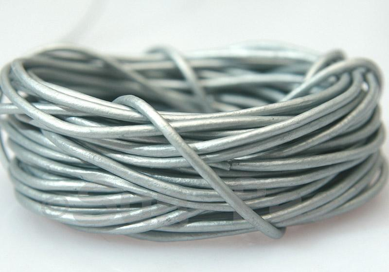 Silver-grey 2mm Round Genuine Hide Leather Cord 1m - 8m