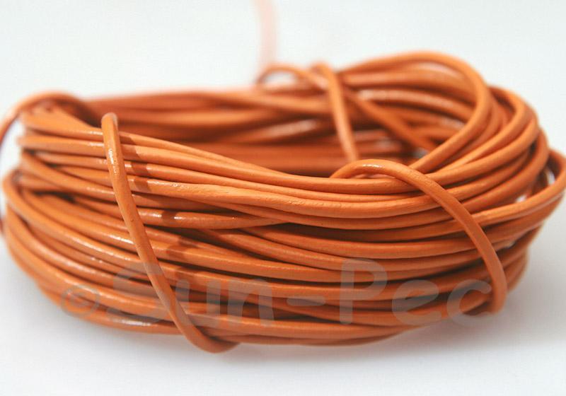 Tangerine 2mm Round Genuine Hide Leather Cord 1m - 8m