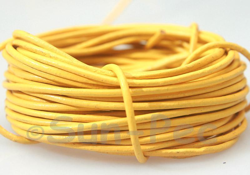 Yellow 2mm Round Genuine Hide Leather Cord 1m - 8m