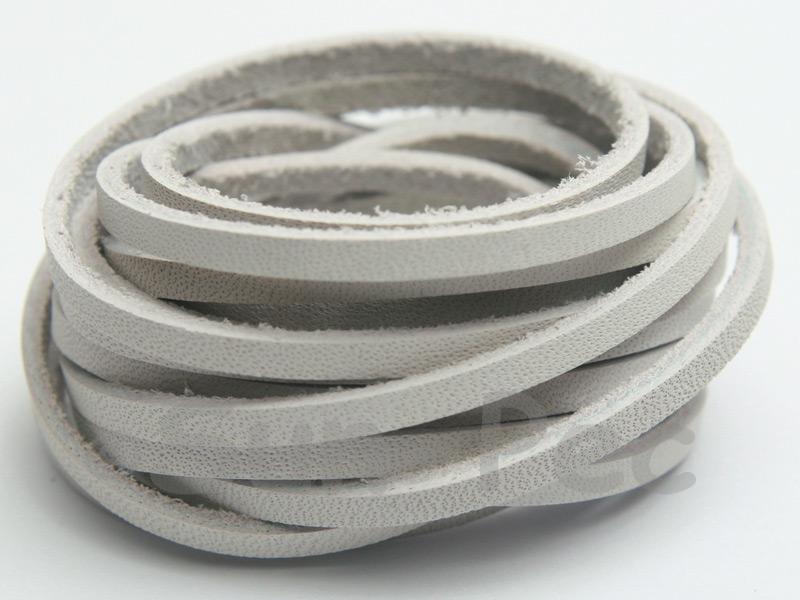 Ivory White 3mm Flat Genuine Hide Leather Thong Cord 1 meter 1pcs - 10pcs