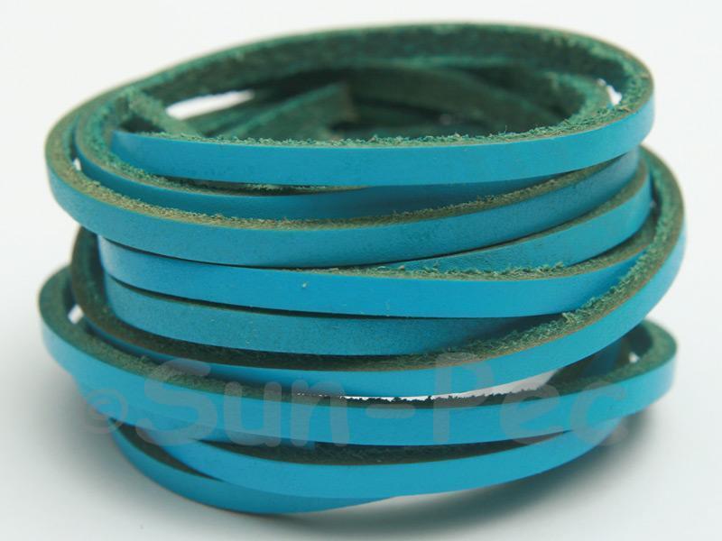 Blue 3mm Flat Genuine Hide Leather Thong Cord 1 meter 1pcs - 10pcs
