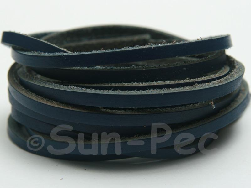 Dark Blue 3mm Flat Genuine Hide Leather Thong Cord 1 meter 1pcs - 10pcs