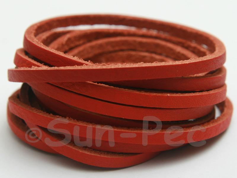 Rusty Orange 3mm Flat Genuine Hide Leather Thong Cord 1 meter 1pcs - 10pcs