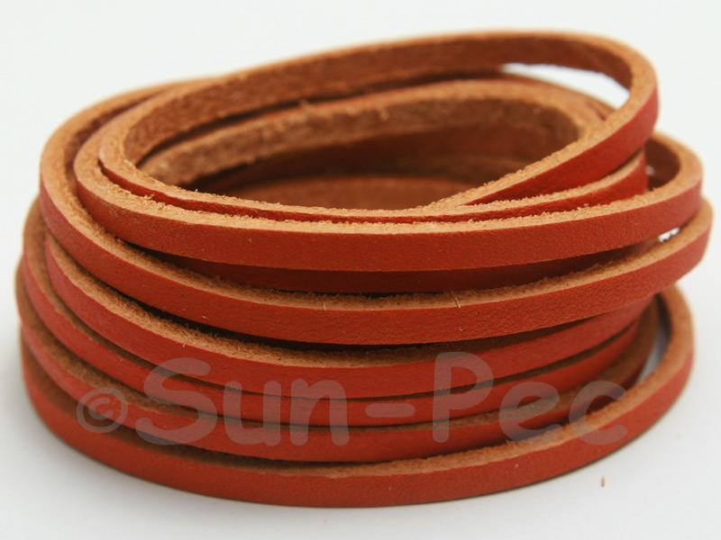 Orange Tan 3mm Flat Genuine Hide Leather Thong Cord 1 meter 1pcs - 10pcs